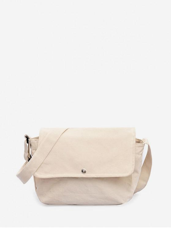 trendy Solid Canvas Simple Shoulder Bag - NATURAL WHITE