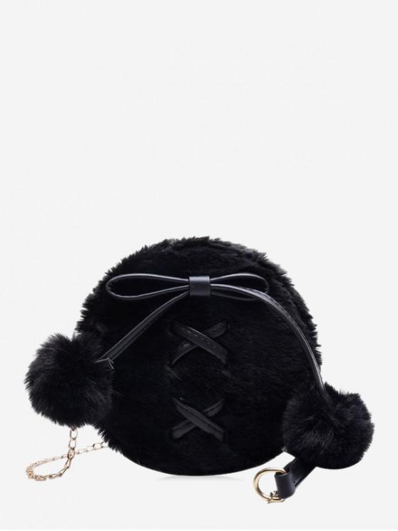 women's Bowknot Fuzzy Ball Shoulder Bag - BLACK