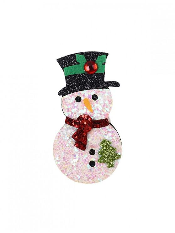 lady Christmas Sequins Snowman Brooch - WHITE