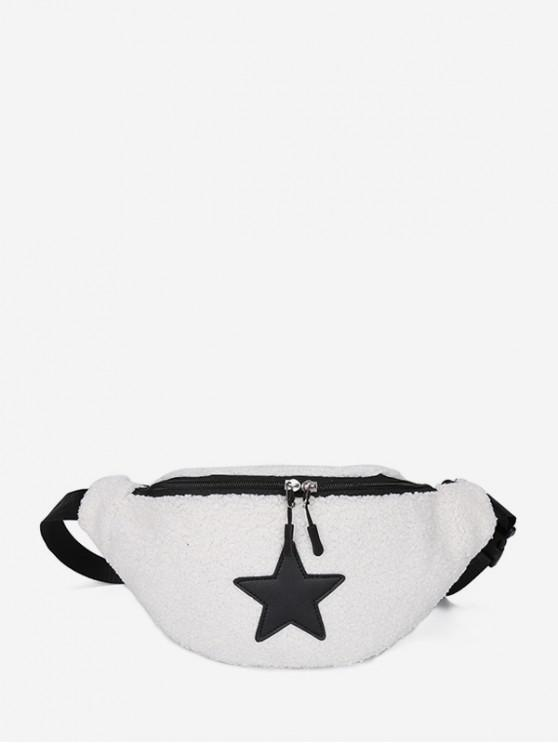 outfit Suede Star Pattern Pocket Waist Bag - MILK WHITE