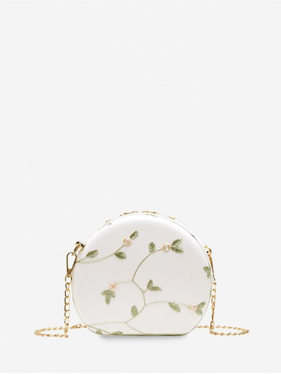 outfits Embroidered Round Lace Shoulder Bag - MILK WHITE