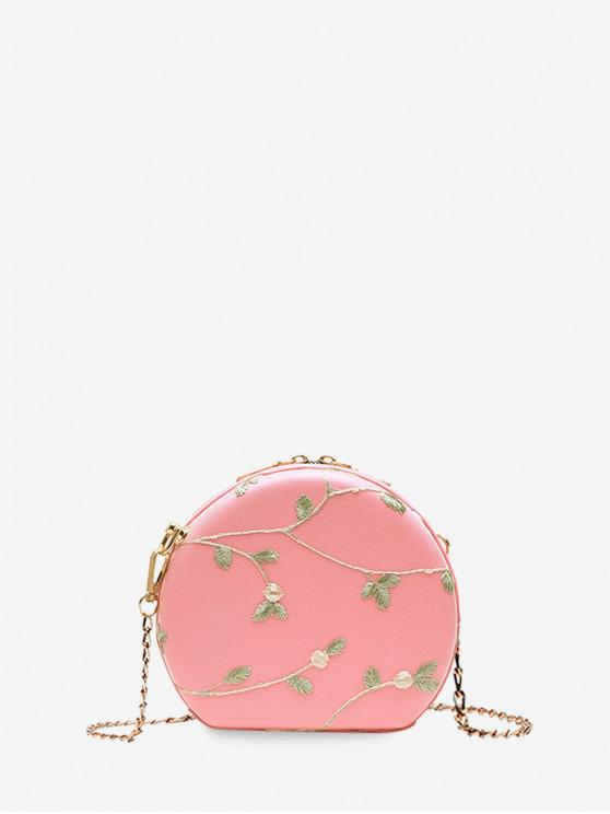 shop Embroidered Round Lace Shoulder Bag - PINK
