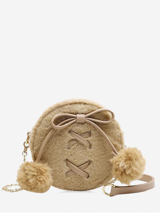 trendy Bowknot Fuzzy Ball Shoulder Bag - LIGHT KHAKI