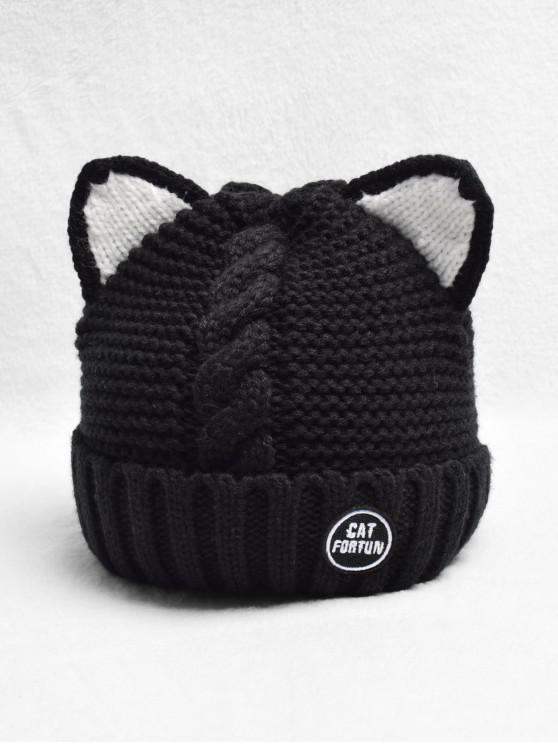 Chapeau Tricoté Tressé Oreille de Chat en Laine - Noir