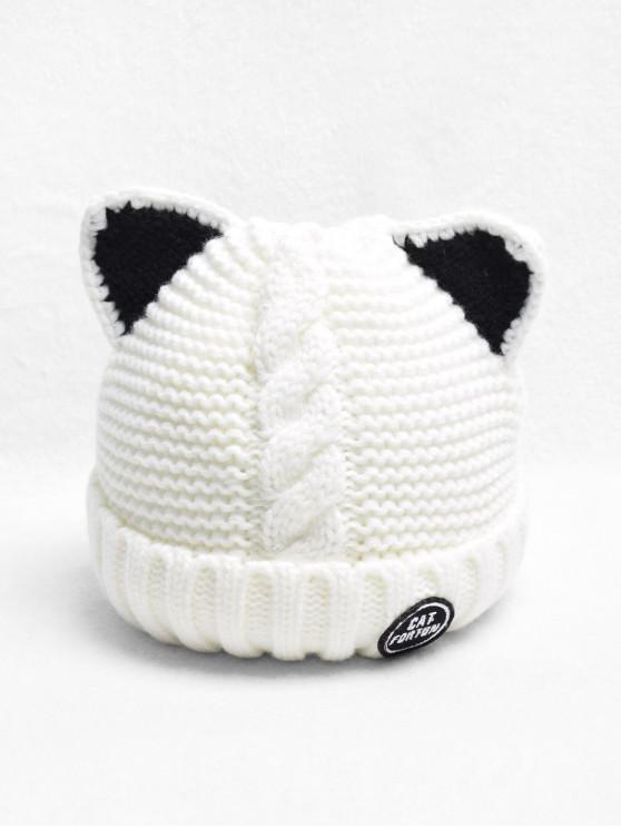Уши кошки Шерсть Вязаная Шляпа - Молочный белый