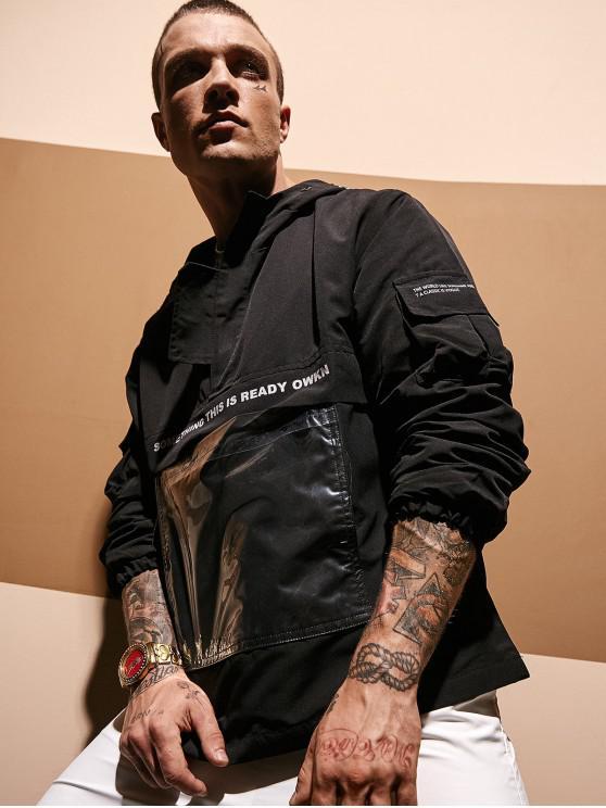 Sudadera con bolsillo transparente con estampado gráfico de letras - Negro 2XL