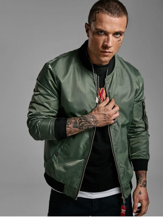 new Graphic Print Zip Up Pocket Bomber Jacket - ARMY GREEN L