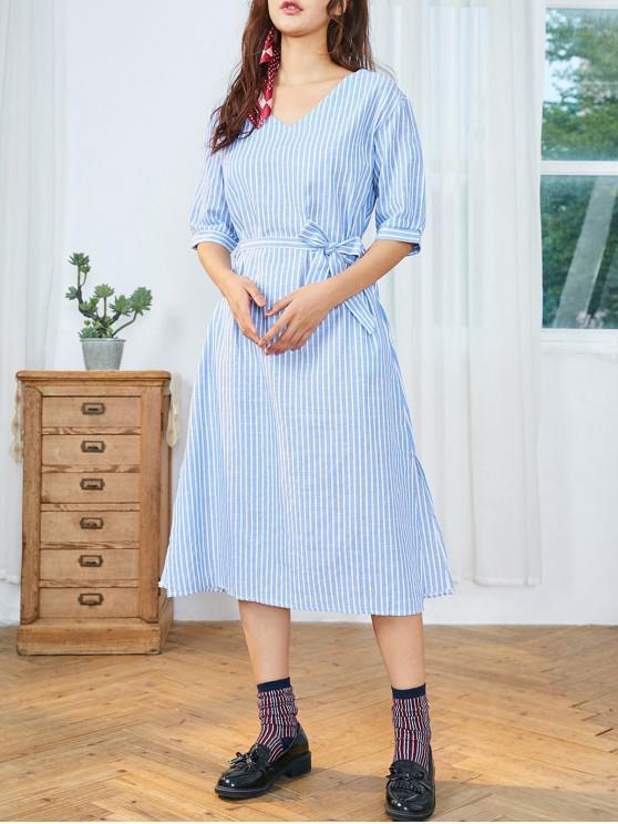 buy Striped Belted Slit Side Midi Dress - DAY SKY BLUE XL