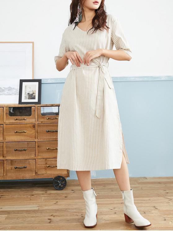 outfits Striped Belted Slit Side Midi Dress - LIGHT KHAKI M