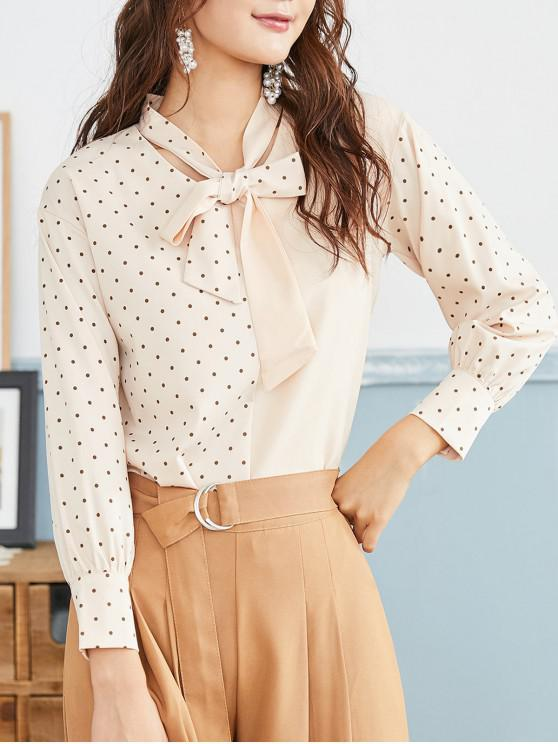 new Polka Dot Bow Tie Long Sleeve Blouse - CHAMPAGNE XL