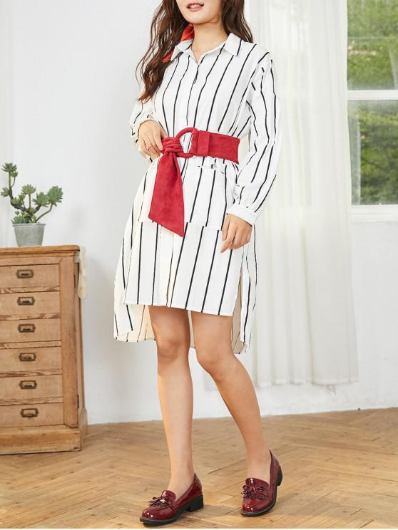 縞模様のステップ裾スリットポケットの膝丈シャツドレス - 白 ワンサイズ