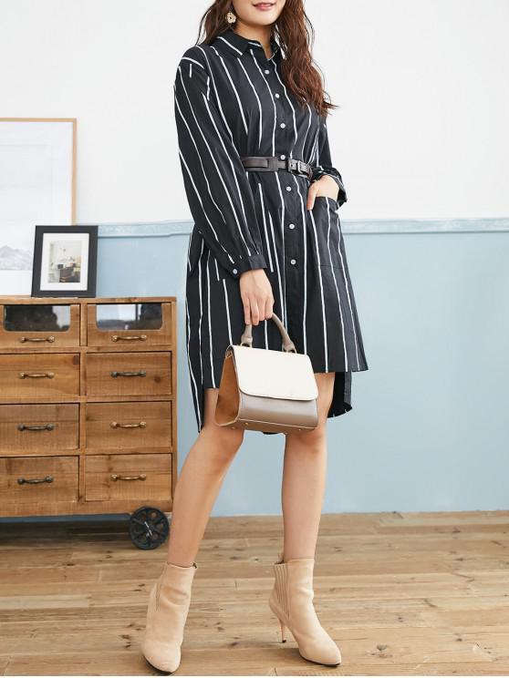affordable Striped Step Hem Slit Pocket Knee Length Shirt Dress - BLACK ONE SIZE