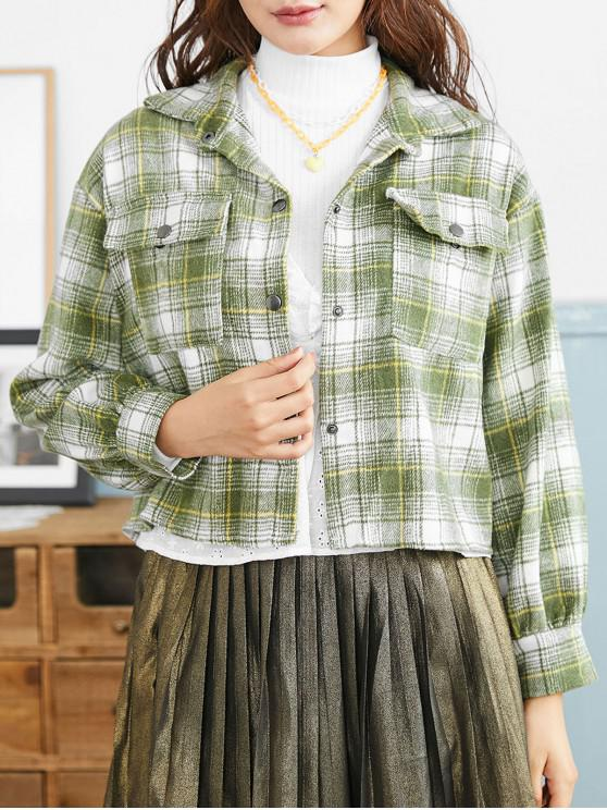 buy Snap Button Plaid Flap Pockets Shirt Jacket - GREEN ONE SIZE