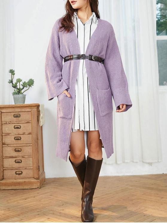 women Collarless Open Front Pocket Long Cardigan - PURPLE ONE SIZE