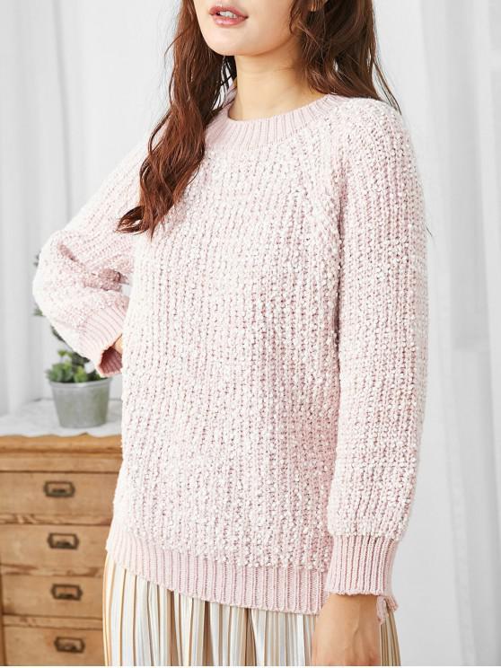 ladies Raglan Sleeves Chunky Knit Loose Sweater - PINK ONE SIZE