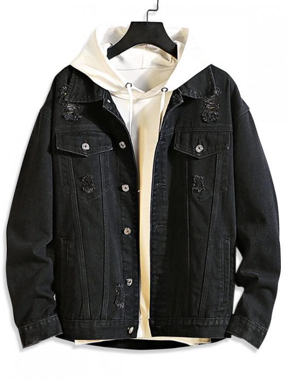 fashion Casual Destroy Wash Ripped Denim Jacket - BLACK 2XL