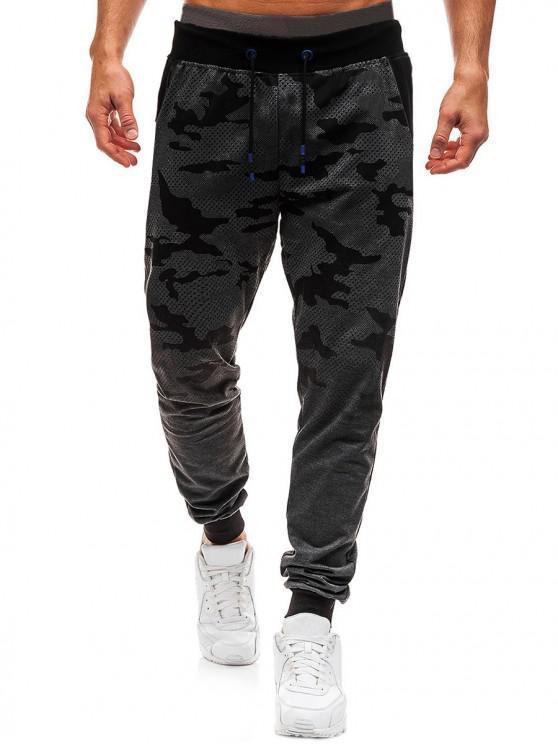 trendy Camo Print Gradient Drawstring Jogger Pants - DARK GRAY XL