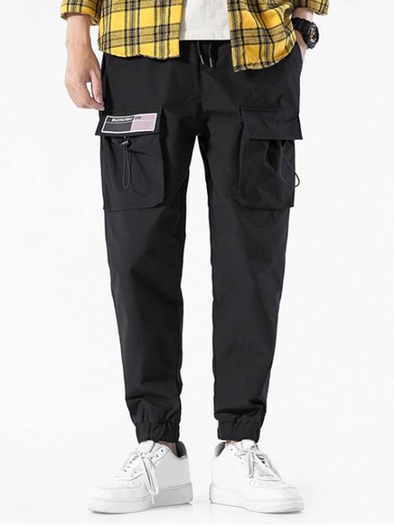 fancy Pocket Decorated Elastic Waist Jogger Pants - BLACK 3XL