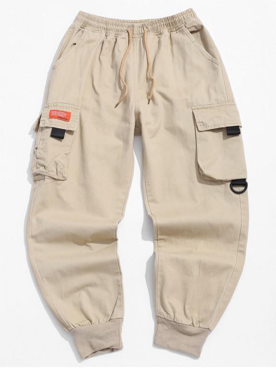 ladies Pocket Decorated Letter Pattern Jogger Pants - LIGHT KHAKI S
