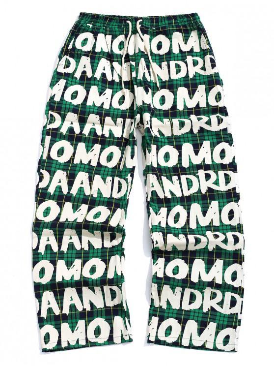 trendy Letter Plaid Printed Elastic Waist Casual Pants - MEDIUM FOREST GREEN L