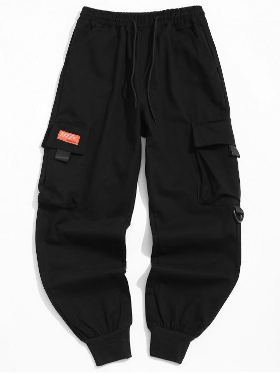fancy Pocket Decorated Letter Pattern Jogger Pants - BLACK XL