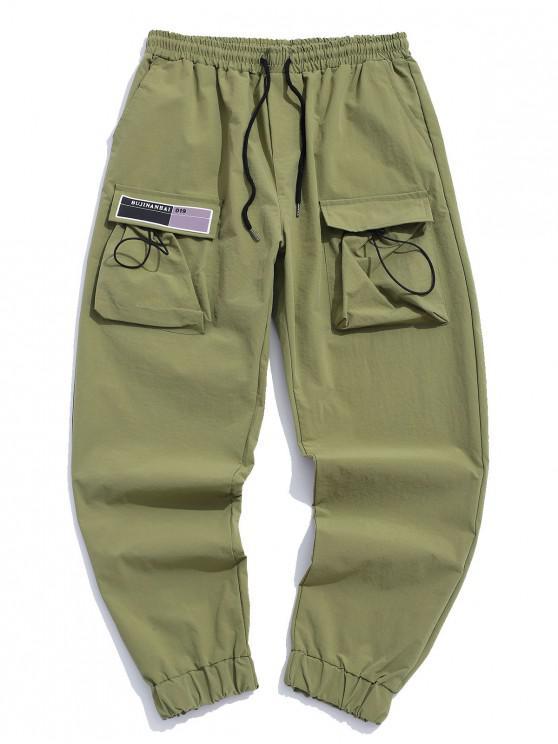 Tasche Verzierte Elastische Taille Jogger Hose - Armeegrün XL
