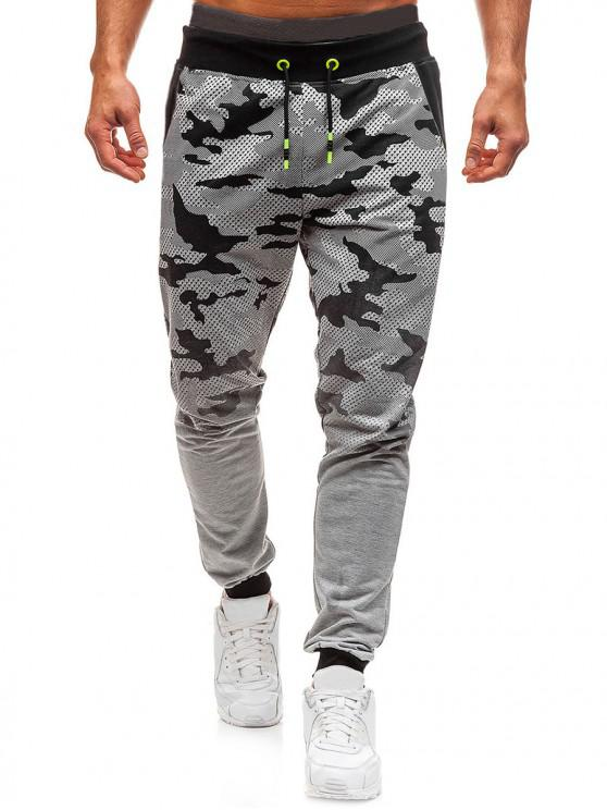 shop Camo Print Gradient Drawstring Jogger Pants - LIGHT GRAY S