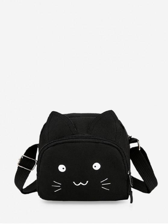 fancy Canvas Cartoon Cat Crossbody Bag - BLACK