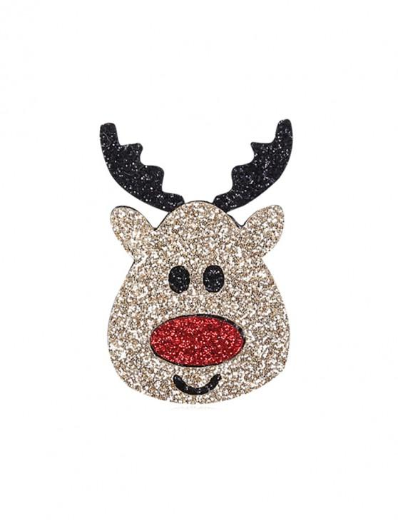 sale Christmas Elk Cartoon Glitter Brooch - JET BLACK