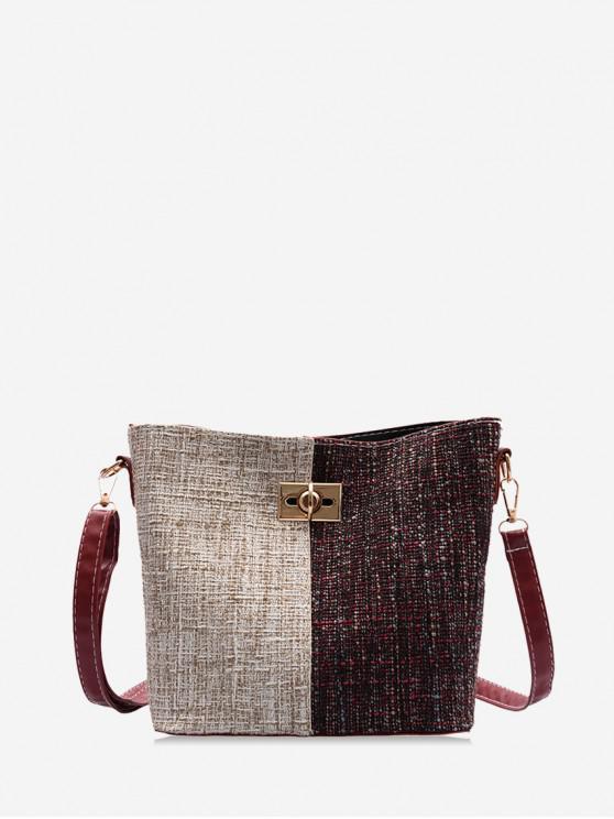 online Jointed Woolen Tote Bag - RED WINE
