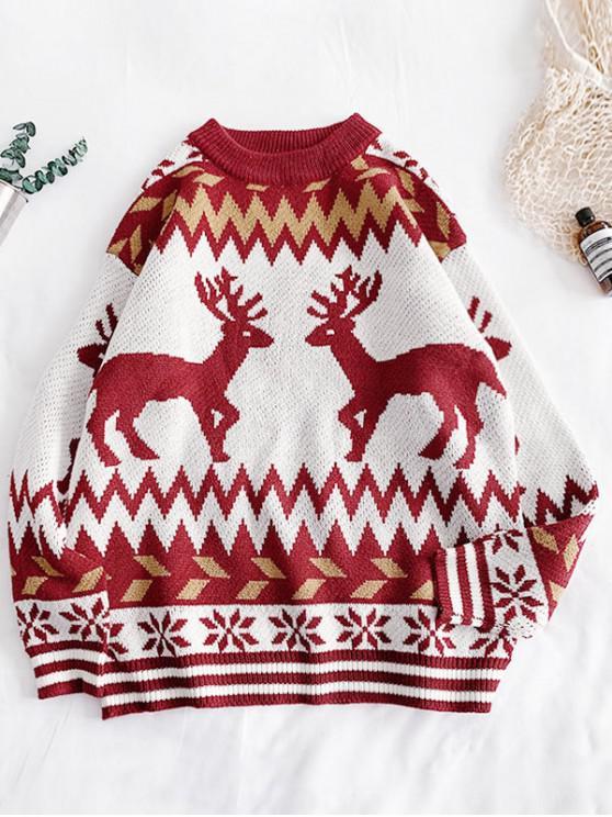 affordable Christmas Wapiti Snowflake Pattern Sweater - LAVA RED M
