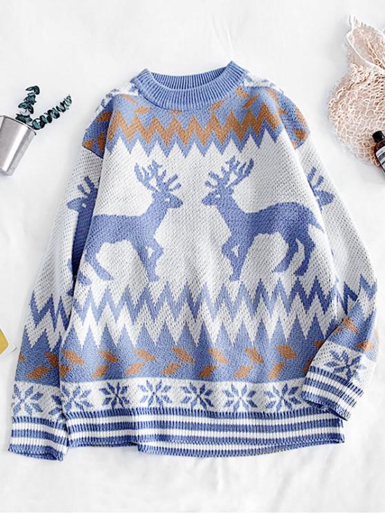 womens Christmas Wapiti Snowflake Pattern Sweater - PASTEL BLUE 2XL