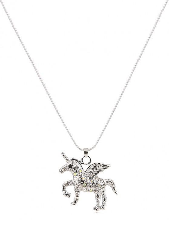 women's Rhinestone Unicorn Shape Pendant Necklace - SILVER