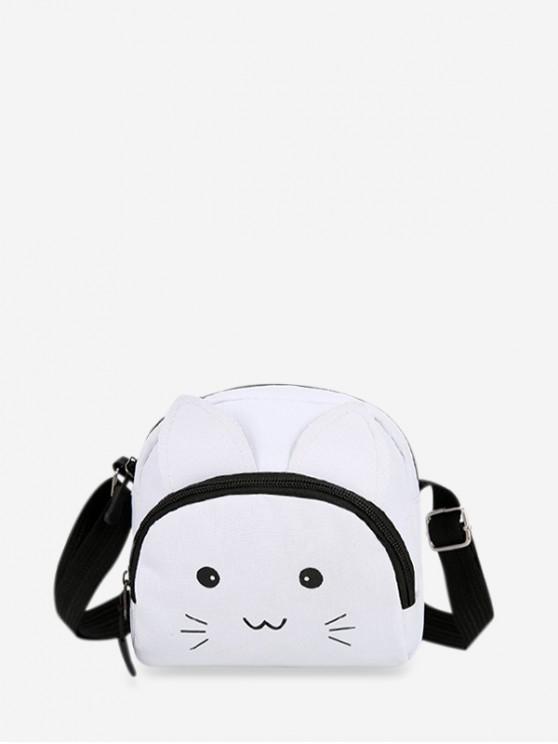 hot Canvas Cartoon Cat Crossbody Bag - MILK WHITE