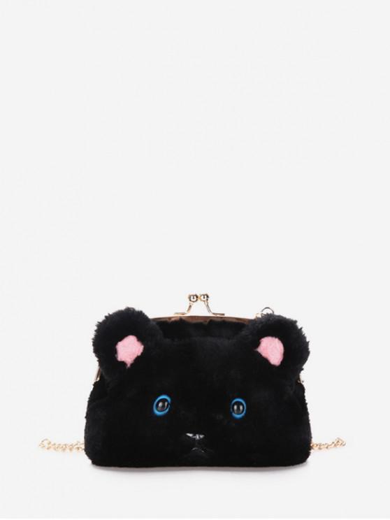 shops Chain Cartoon Face Shoulder Bag - BLACK