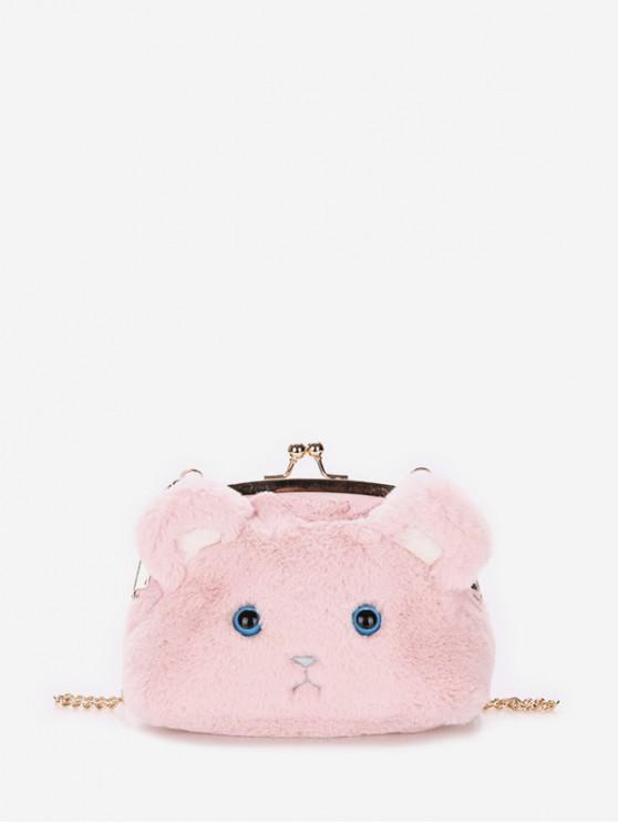 chic Chain Cartoon Face Shoulder Bag - FLAMINGO PINK