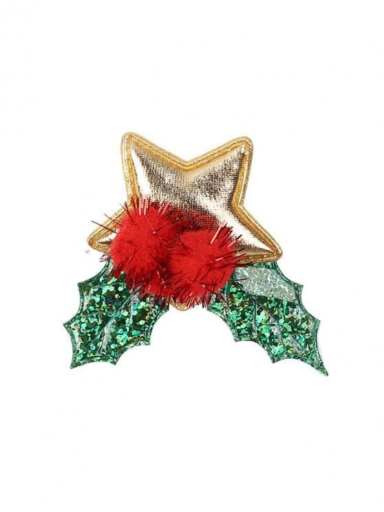 ladies Christmas Star Leaf Brooch - CLOVER GREEN