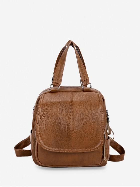 fashion Solid Leather Backpack - BROWN