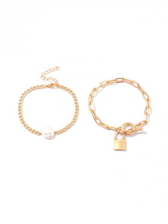 unique 2Pcs Faux Pearl Lock Bracelet Set - GOLD