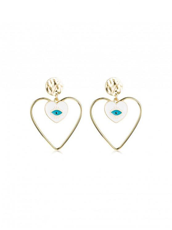 best Heart Eye Shape Stud Drop Earrings - GOLD