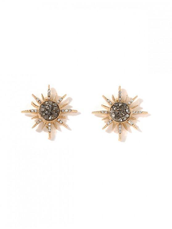 shop Sun Rhinestone Resin Stud Earrings - GOLD