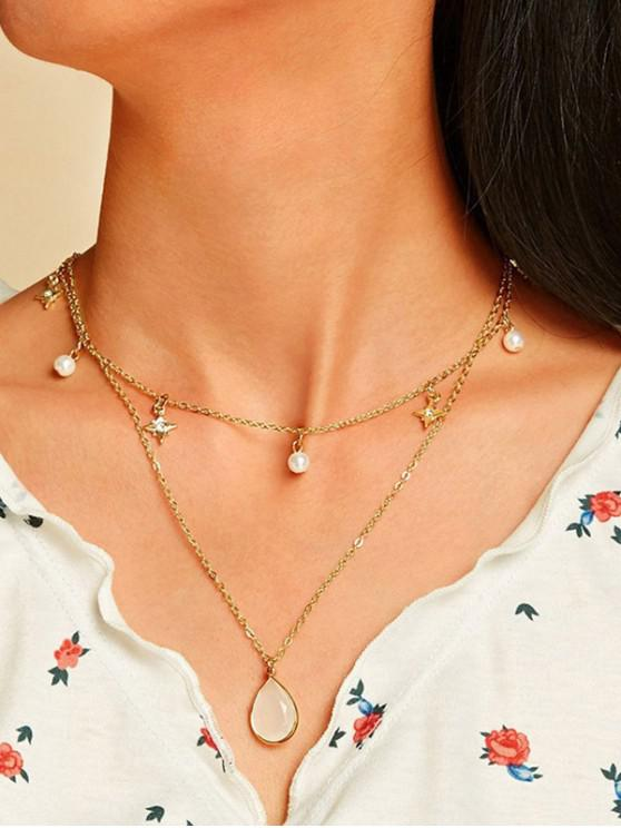 shops Star Faux Pearl Teardrop Layers Necklace - GOLD