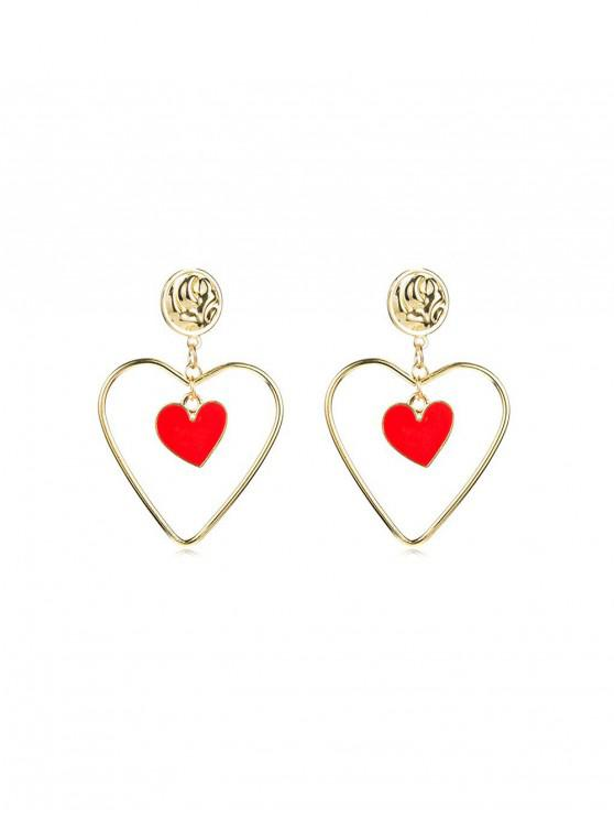 shop Hollow Heart Shape Drop Earrings - GOLD