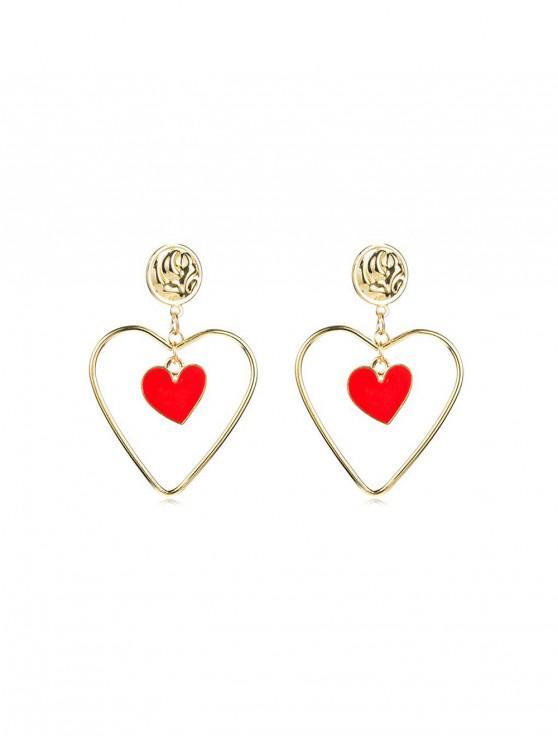 Hollow รูปหัวใจต่างหู Drop - ทอง