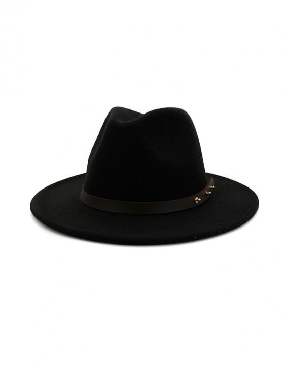 shop Winter Solid Belt Design Fedoras - BLACK