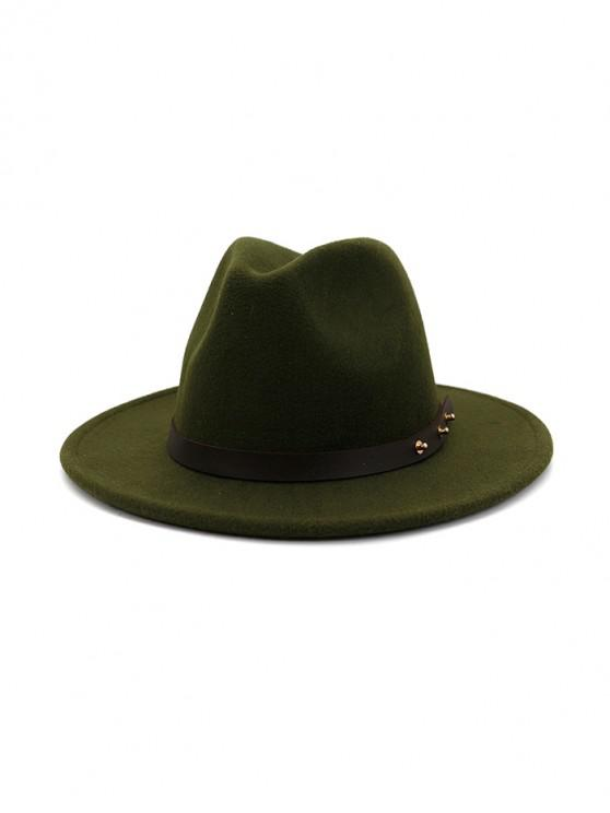 chic Winter Solid Belt Design Fedoras - ARMY GREEN