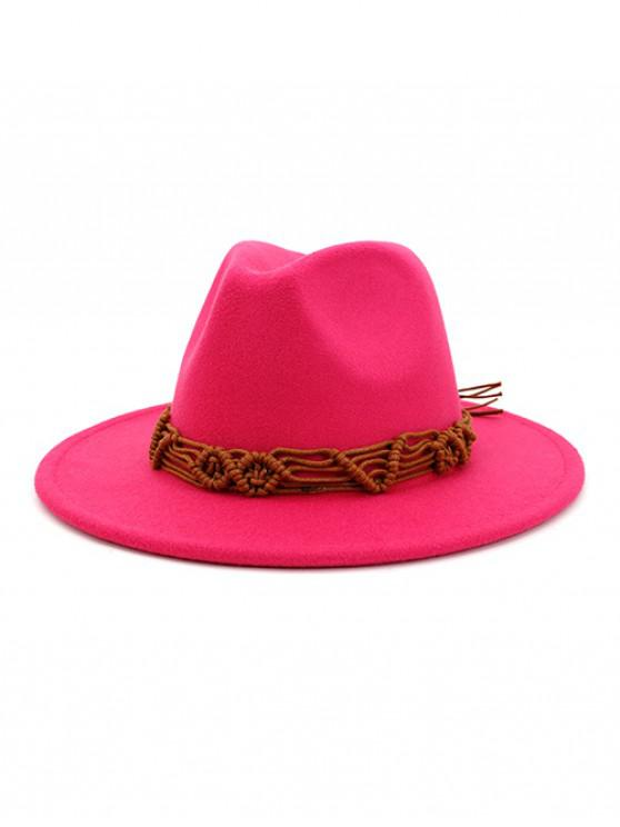 fancy Crochet Rope Ethnic Solid Fedoras - ROSE RED