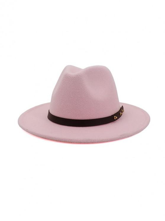 lady Winter Solid Belt Design Fedoras - LIGHT PINK