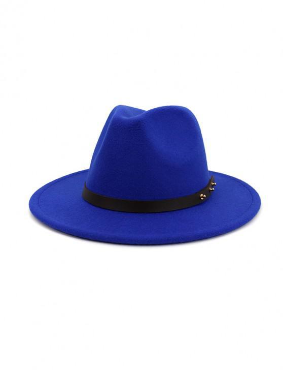 outfit Winter Solid Belt Design Fedoras - BLUE