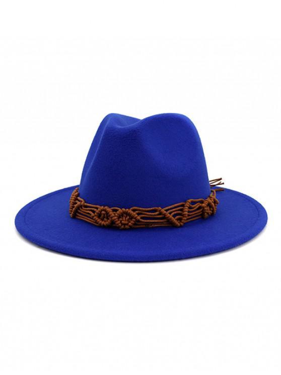 shops Crochet Rope Ethnic Solid Fedoras - BLUE
